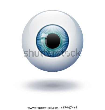 Realistic vector illustration icon 3d round image blue green azure eye ball. transparent on background.