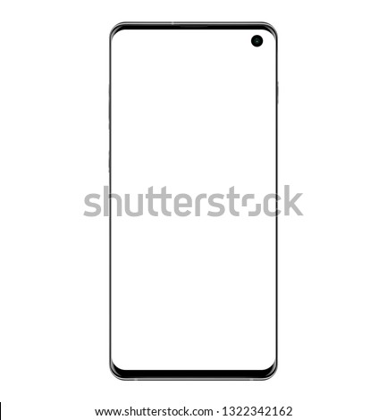 Realistic vector illustration image of smart phone samsung galaxy s10 plus black isolated on transparent background