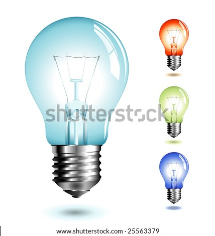 realistic vector-illustration of a lightbulb in different color-versions