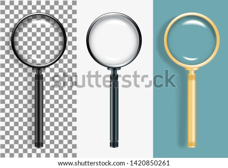 Realistic Vector illustration of a magnifying glass in different colors. Hand lens on white background. Transparent effects on plaid background. All glass and shade with transparency effect.