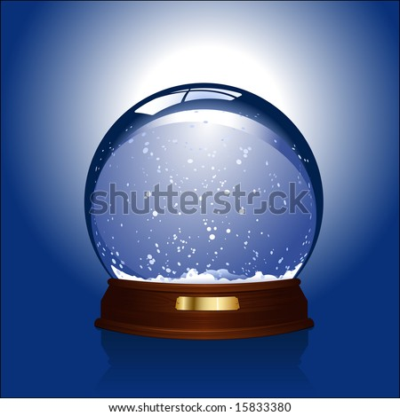 Realistic vector-illustration of an empty snow-dome against a blue background - customize by inserting your own object - stock vector