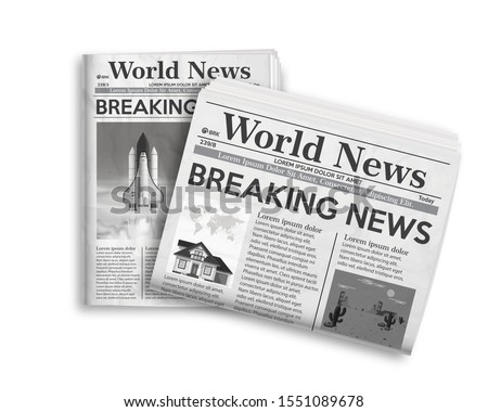 Realistic vector illustration of black and white newspaper layout. ストックフォト ©
