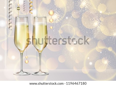 Realistic vector illustration of champagne glasses on blurred holiday silver sparkle background #1196467180