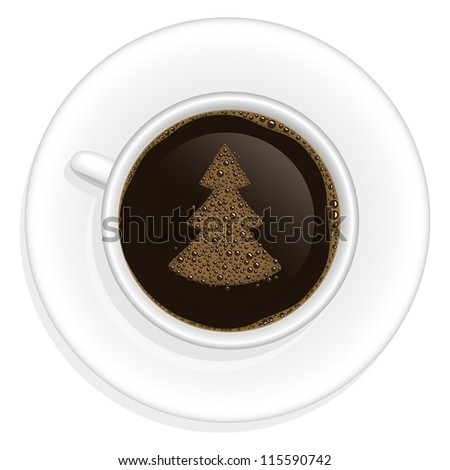 Realistic vector illustration of coffee cup with christmas tree decoration on coffee surface
