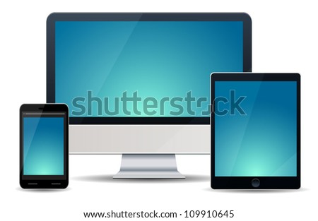 Realistic vector illustration of computer, notebook and phone isolated on background