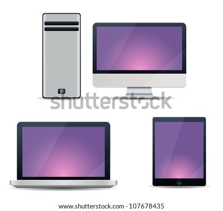 Realistic vector illustration of computer, notebook and tablet PC