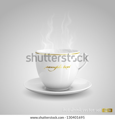 Realistic vector illustration of cup of hot drink on gray background.