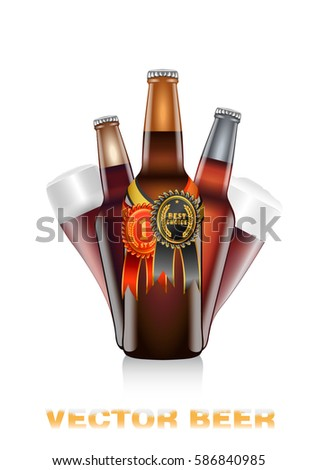 Realistic vector illustration of dark beer bottles with red and black and gold competition seals Photo stock ©