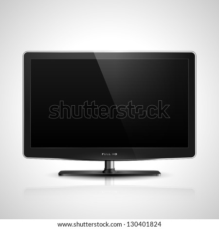 Realistic vector illustration of high definition TV screen