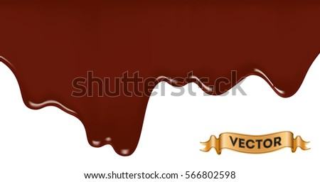 Realistic vector illustration of melted chocolate dripping on white background.