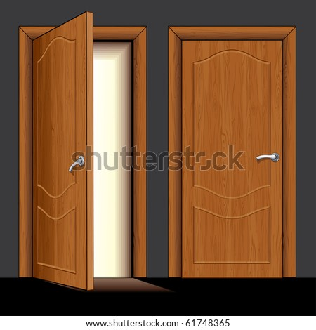 Realistic vector Illustration of opened and closed classic wooden door - only simply colors used
