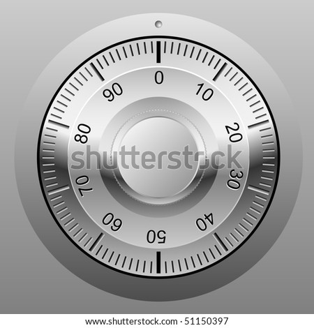 Realistic vector illustration of safe combination lock wheel.