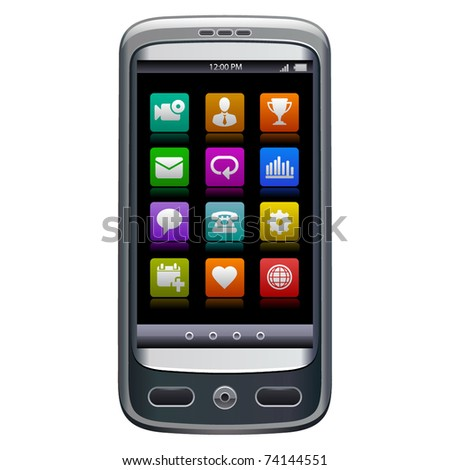 Realistic vector illustration of smartphone with icons