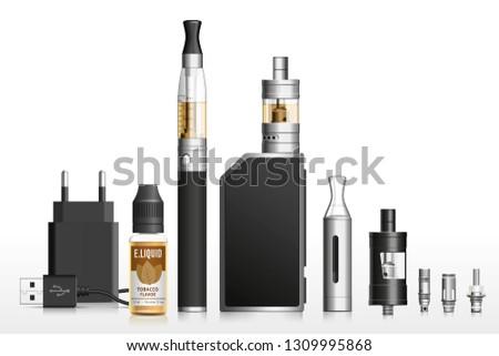 Realistic vector illustration of vaping elements. E-cigarette, e-liquid, battery, atomizer, clearomizer, coil, accessories