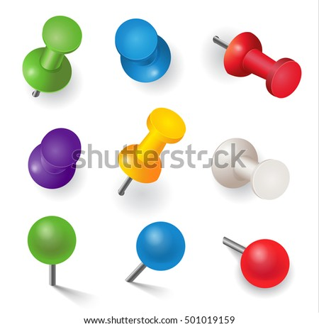Realistic vector illustration, set of different color pins, isolated on white.