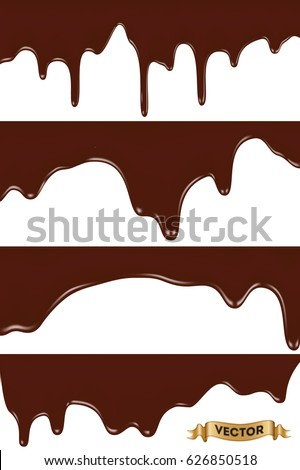 Realistic vector illustration, set of melted chocolate dripping on white background.