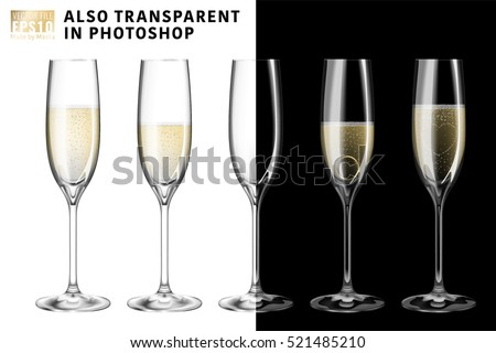 Realistic vector illustration set of transparent champagne glasses with sparkling white wine and empty glass. Transparent on background. Love heart concept. Ring for engagement and Valentine's day.