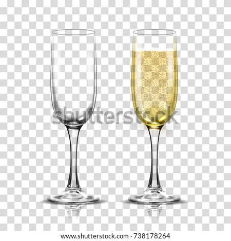 Realistic vector illustration set of transparent champagne glasses with sparkling white wine and empty glass. Transparent on background.