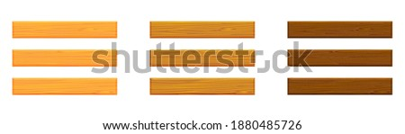 Realistic vector illustration wood plank boards isolated on white background. Empty wooden plank board icon in flat cartoon style. Set of light and dark brown wooden boards for sign decoration.
