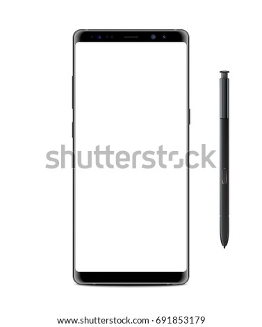 Realistic vector image illustration mock-up of new generation samsung galaxy note 8 eight edge plus smart phone blue on transparent white background with s pen stylus