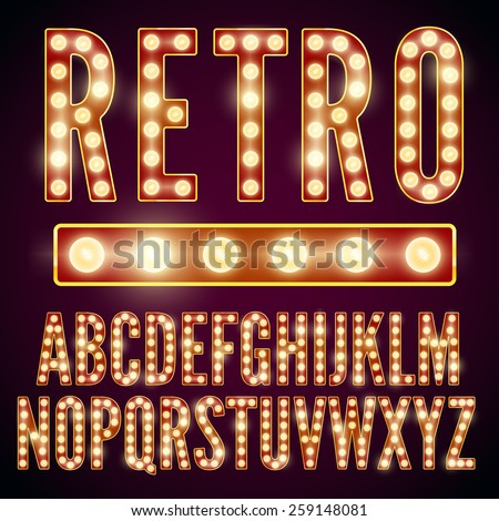 Realistic vector lamps alphabet, font set, retro style, red-yellow colors.