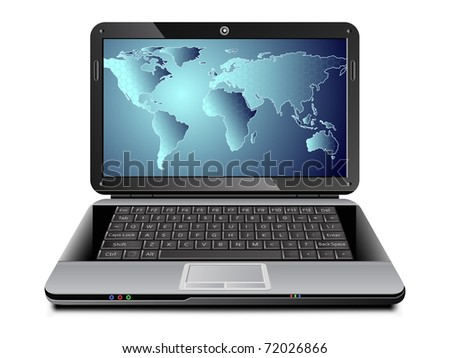 Realistic vector laptop with world map covered with cells on the screen. Global communications concept. - stock vector
