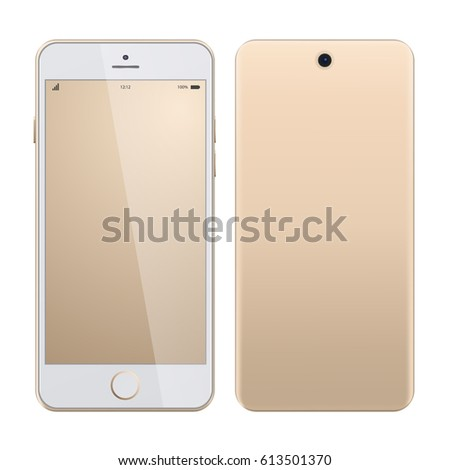 Realistic vector mock-up of new smartphone gold platinum. New realistic mobile phone smartphone iphon style mockups  on white background. Vector illustration. Smartphone realistic vector iphon.