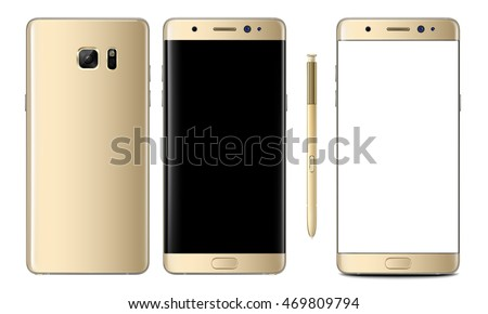 Realistic vector mock-up of new smartphone gold platinum samsung galaxy note 7 with stylus s pen. Layered - just put your image on content layer. Scale vector smartphone image to any resolution.