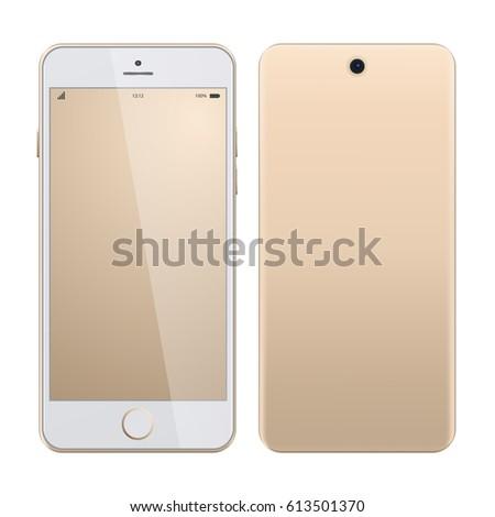 Realistic vector mock-up of new smartphone gold platinum. Vector illustration. Smartphone realistic vector