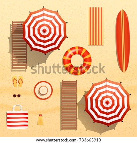 Realistic vector objects illustration, sun umbrellas, surfboard, towel,  lounger, swim ring,  sunglasses and other beach stuff