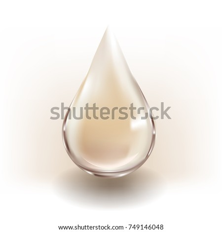 Realistic vector of gold drop for beauty and cosmetic concept.