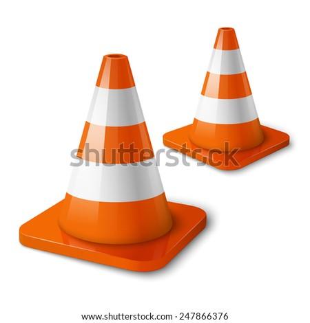 Realistic vector - orange road cones with stripes.