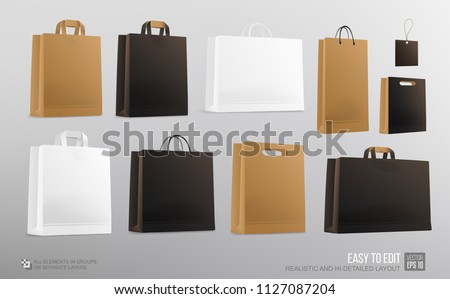 Realistic vector paper Shopping Bag Mockup set for branding and corporate identity design. Square and horizontal paper Shopping bag, package blank Mockup