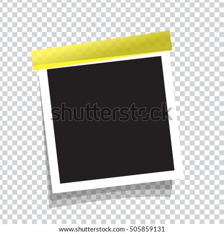 Realistic vector photo frame on sticky tape. Template photo for your design.Transparent background. photo frame vector. Photo Frame for example.White photo frame.Photo frame icon.photo frame flat