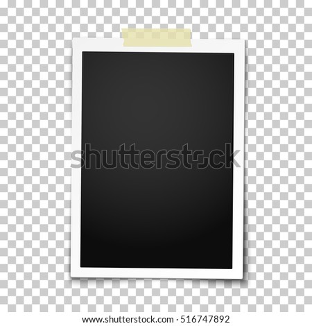 Realistic vector photo frame with straight edges on sticky tape placed vertically. Template photo design.