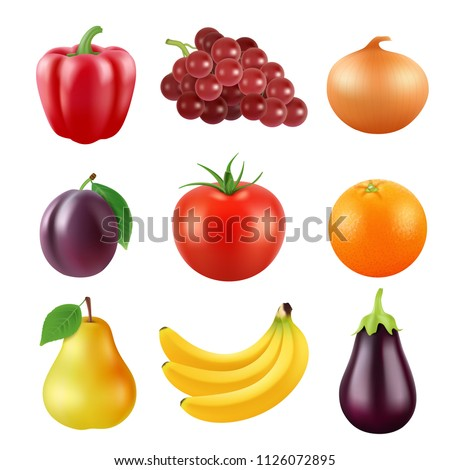 Realistic vector pictures of fresh fruits and vegetables. Fruit food and vegetable, orange and plum, pear and eggplant, onion and pepper illustration