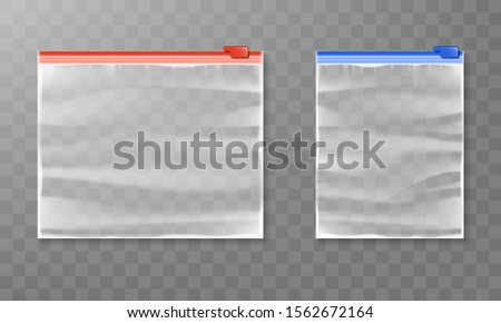Realistic vector plastic zipper bag mockup isolated on transparent background. Transparent packaging zipper bag.