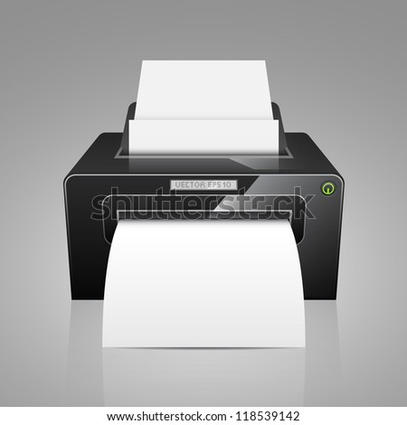 Realistic vector printer, black model with white paper.