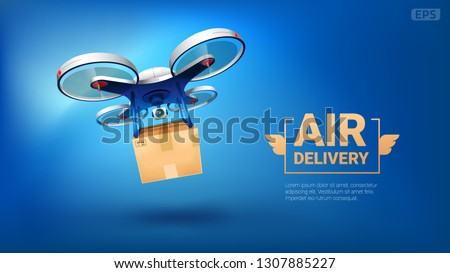 Realistic vector quadcopter with a portable camera on a blue background. Delivery of a cardboard box drone by air. EPS 10.