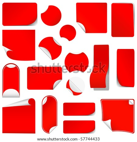realistic vector red stickers with peeling corners