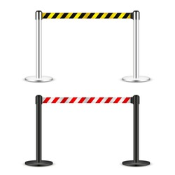 Realistic vector retractable belt stanchion. Crowd control barrier posts with caution strap. Queue lines. Restriction border and danger tape.
