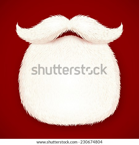 Realistic vector Santa's beard isolated on red background