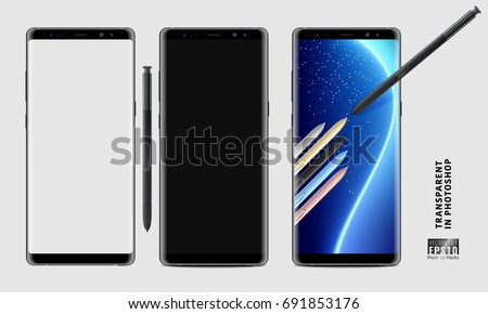 Realistic vector set mock-up of new generation samsung galaxy note 8 eight edge plus smart phone blue on transparent background with s pen stylus