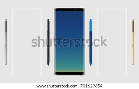 Realistic vector set mock-up of new generation samsung galaxy note 8 eight edge plus smart phone on transparent background with s pen stylus