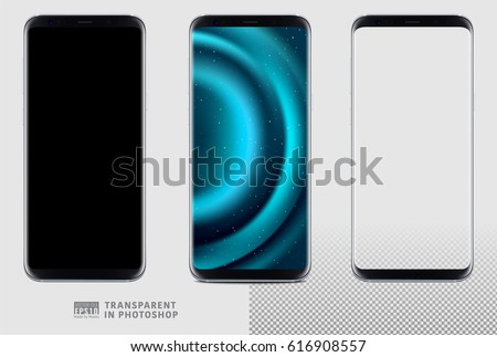 Shutterstock Realistic vector set mock-up of new generation samsung galaxy s8 edge plus smart phone silver on transparent background. Layered - just put your image on content layer. Scale image any resolution.