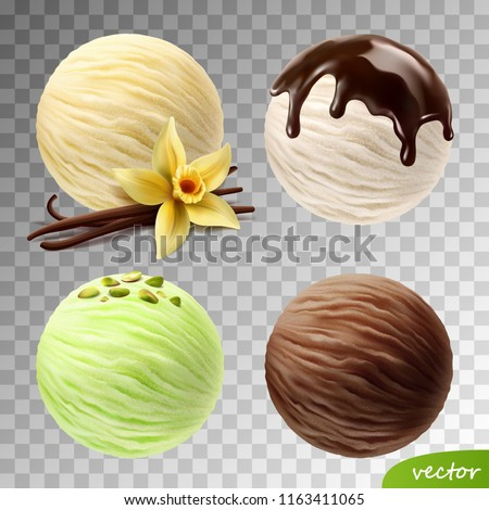 Realistic vector set of ice cream scoops (vanilla flower and sticks, pistachios, flowing chocolate)