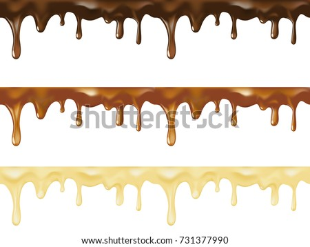 Realistic vector set of melted dark, white and milk sweet chocolate dripping seamless. Vector design for desserts or cafeteria and patisserie cakes and cookies.