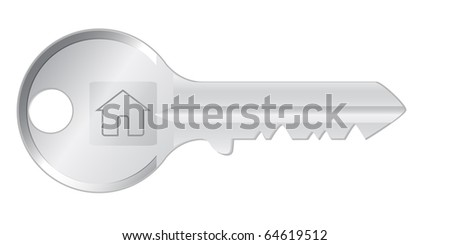 realistic vector silver metal's key form home