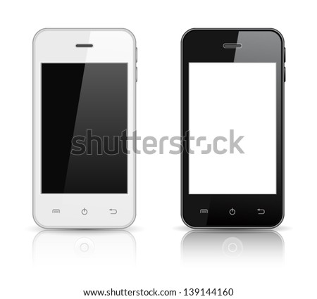 realistic vector smart phones isolated on white background