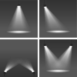Realistic vector spotlights on dark background